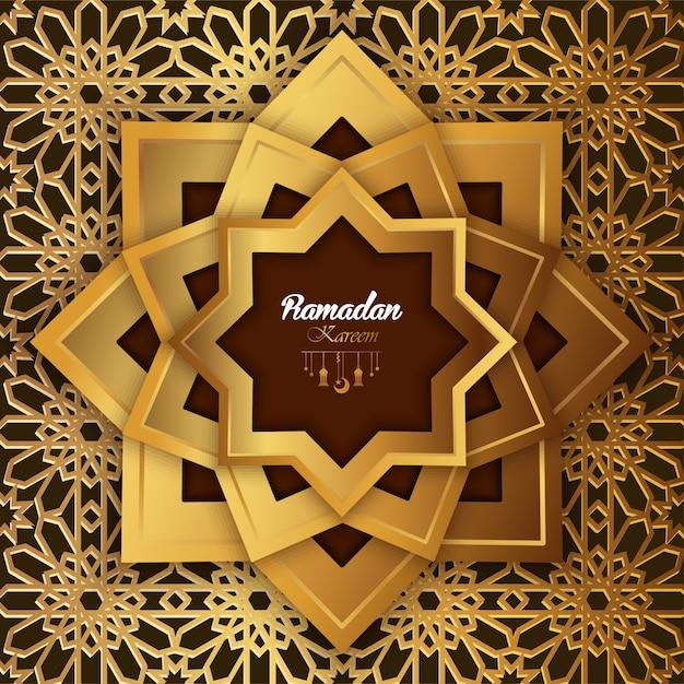 Mandala astratta di progettazione di ramadan kareem dell'islam con l'illustrazione del modello Vettore Premium