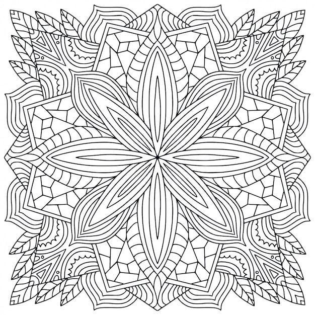 Mandala bianco e nero Vettore Premium