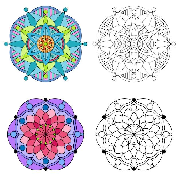 Mandala colorazione floreale e mandala fiore rotondo ornamento 2 stile colorato. Vettore Premium