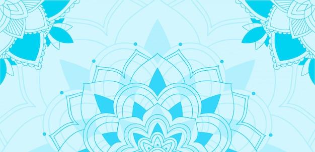 Mandala design su sfondo blu Vettore gratuito