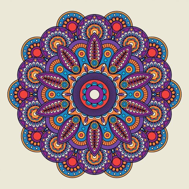 Mandala di boho hippie di doodle indiano Vettore Premium