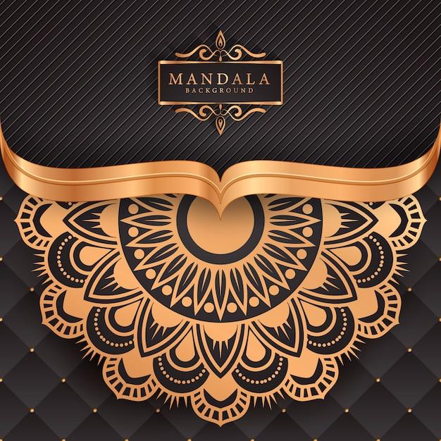 Mandala di lusso decorativo etnico elemento di sfondo Vettore Premium