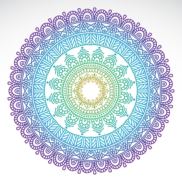 Mandala di sfumatura rotonda su sfondo bianco isolato Vettore gratuito