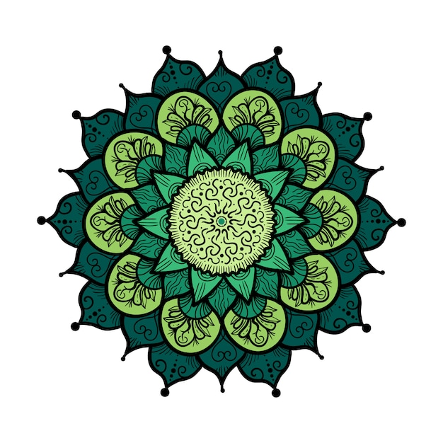 Mandala disegnato a mano in stile di decorazione cultura araba, indiana, islam e ottomano Vettore Premium