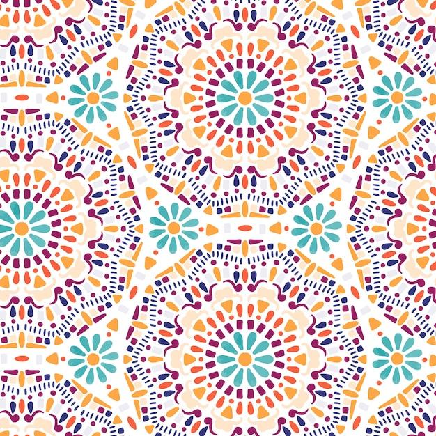 Mandala fiore disegnato a mano senza cuciture Vettore Premium