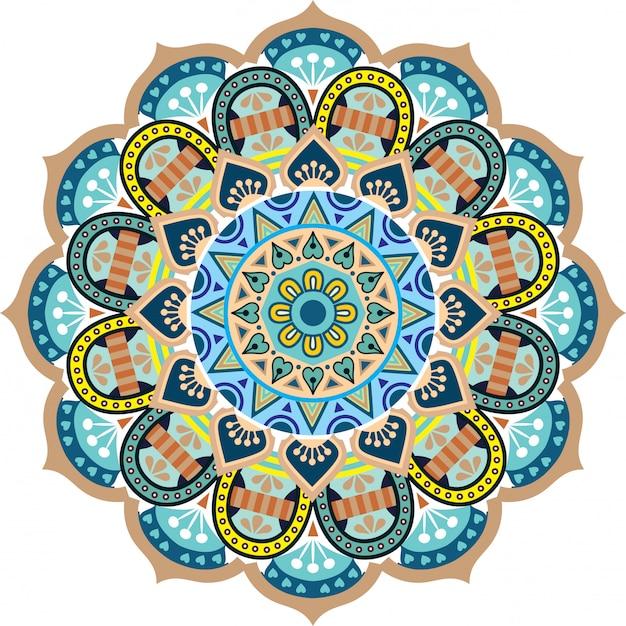 Mandala floral flower oriental pattern vector illustration islam arabic indiano turco pakistan ottoman motivi Vettore Premium