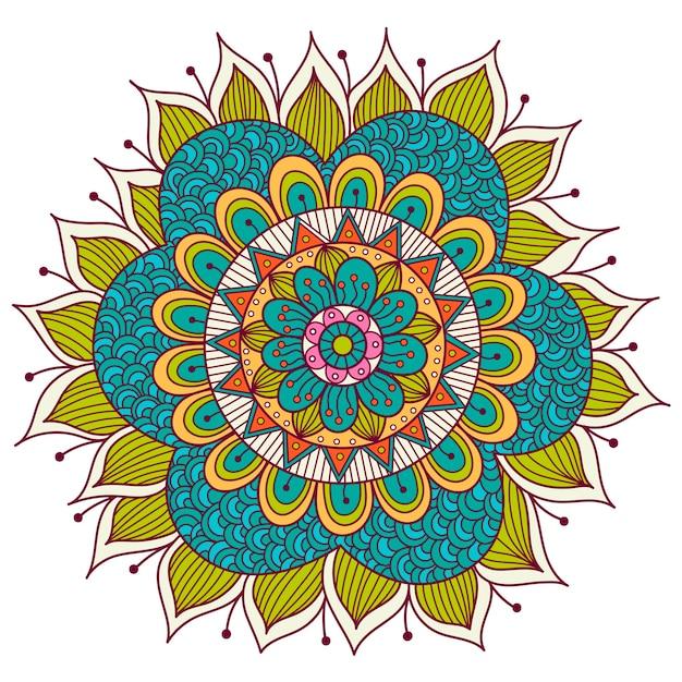 Mandala floreale colorato. elementi decorativi etnici Vettore Premium