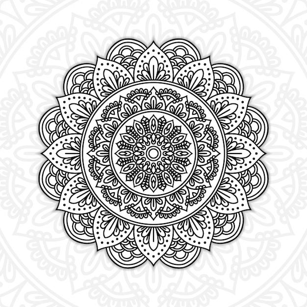 Mandala floreale in bianco e nero Vettore Premium