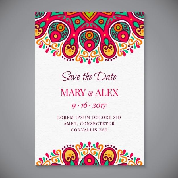 Mandala invito a nozze Vettore gratuito