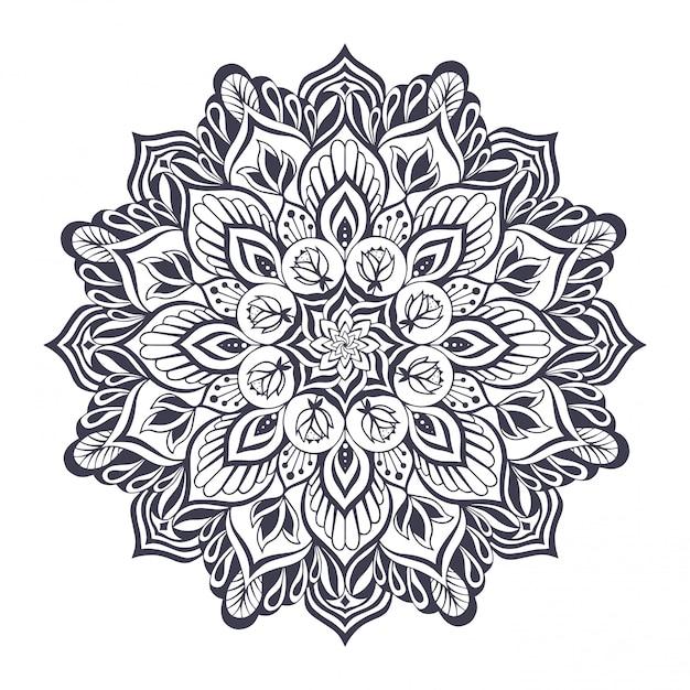 Mandala monocromatica per yoga e pilates Vettore Premium