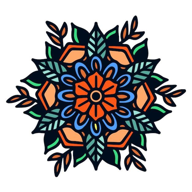 Mandala old school tattoo illustration audace semplice Vettore Premium
