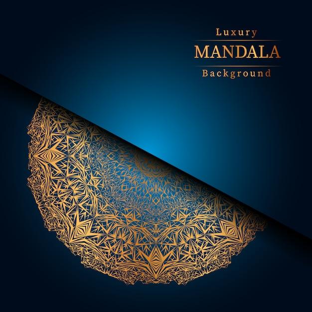 Mandala ornamentale di lusso design sfondo in colore oro, mandala di lusso per invito a nozze, copertina del libro. Vettore Premium