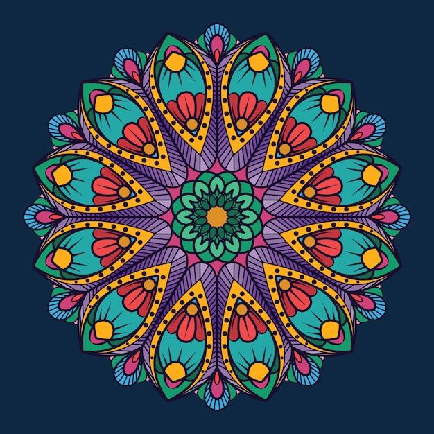 Mandala ornamentale su sfondo blu scuro Vettore Premium