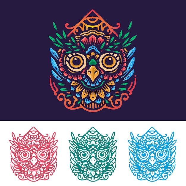 Mandala owl floreale colorato Vettore Premium