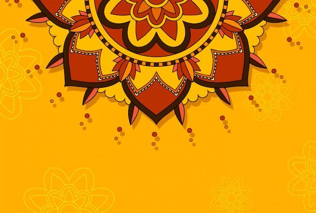 Mandala pattern su arancio Vettore gratuito