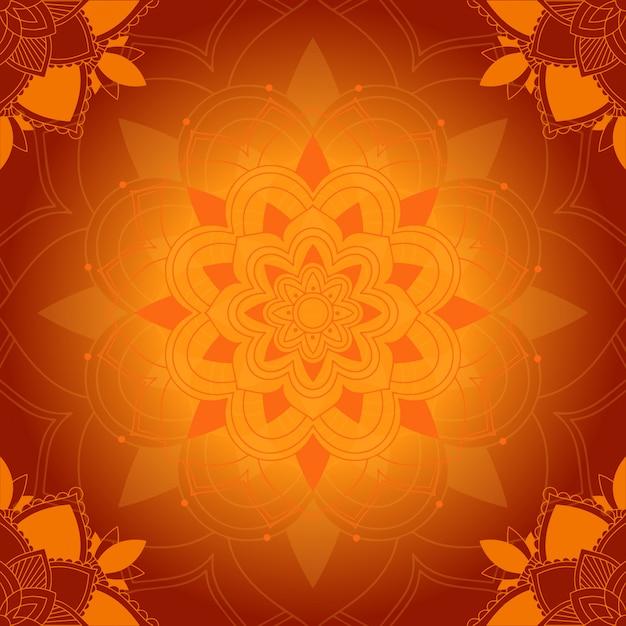 Mandala pattern su sfondo arancione Vettore gratuito