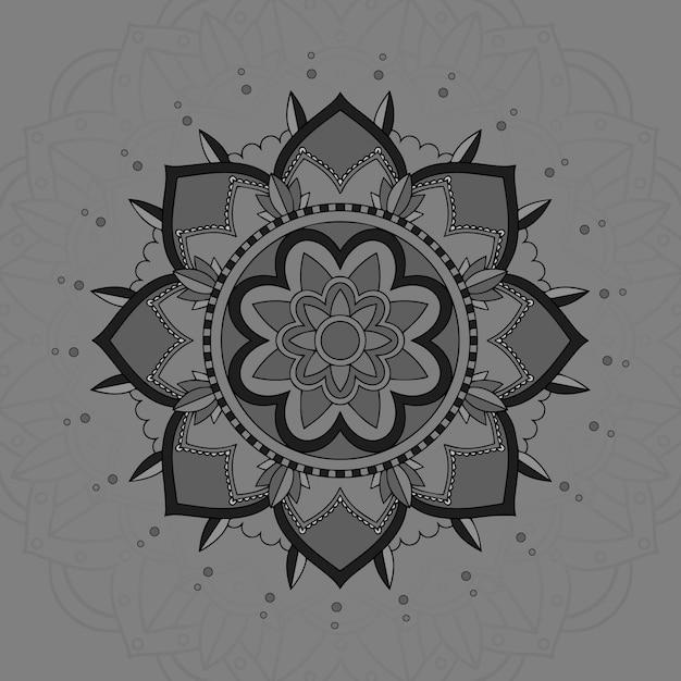Mandala pattern su sfondo grigio Vettore gratuito