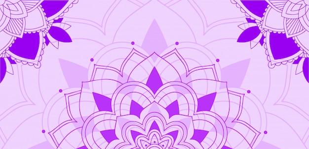 Mandala pattern su sfondo viola Vettore gratuito