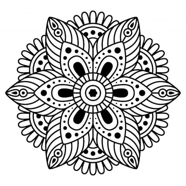 Mandala rotonda su sfondo bianco Vettore Premium