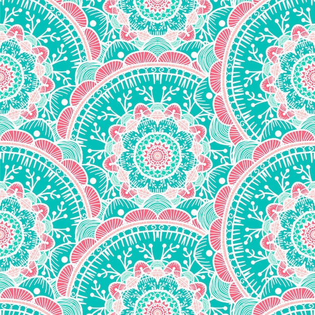 Mandala seamless pattern Vettore Premium