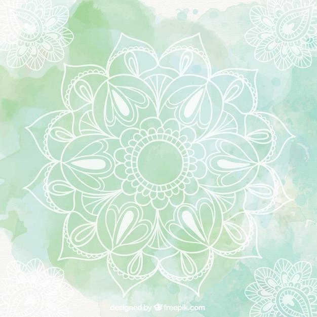 Mandala sfondo verde Vettore gratuito
