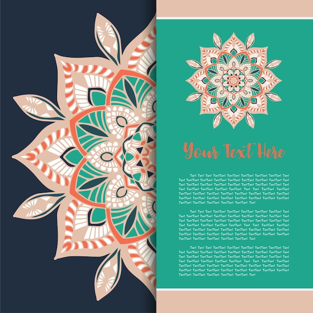Mandala template card, greeting invitation card set vettoriale. Vettore Premium