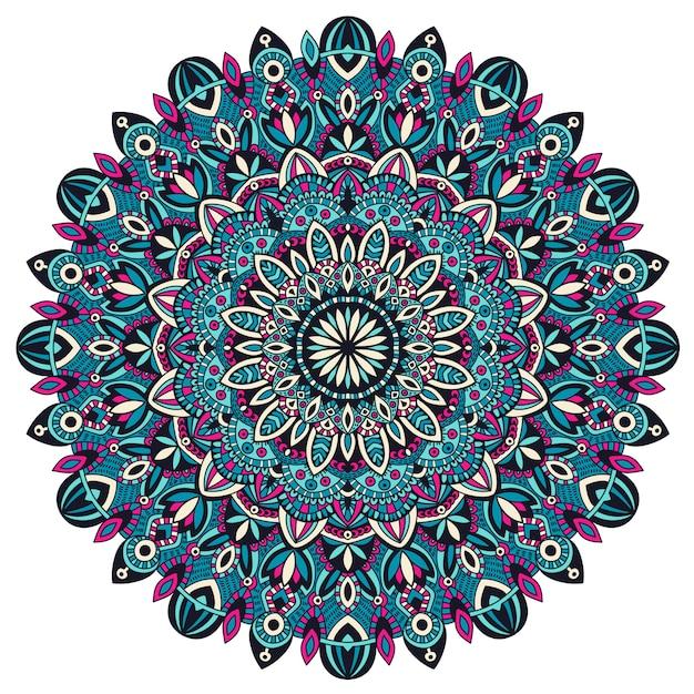 Mandala tribale vintage elemento etnico. Vettore Premium