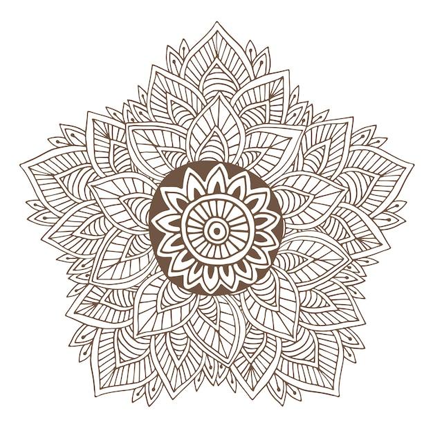 Mandala vettoriale o design henna tatuaggio. tondo ornamentale per la colorazione delle pagine del libro o del design dell'imballo Vettore Premium