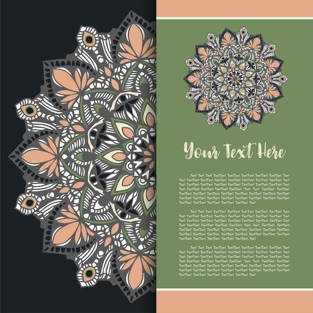 Mandala vintage template card Vettore Premium