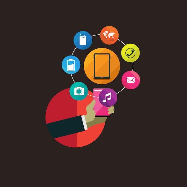Maneggiare la tecnologia moderna con design piatto Vettore Premium