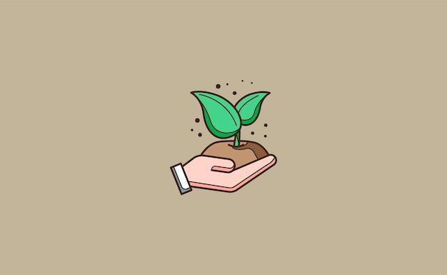 Mani che piantano un'illustrazione della pianta Vettore Premium
