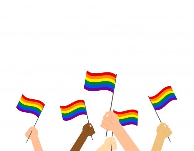 ็็ mani che reggono la bandiera dell'orgoglio lgbt Vettore Premium