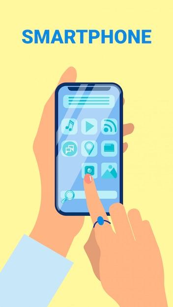 Mani che tengono l'illustrazione piana di vettore dello smartphone Vettore Premium