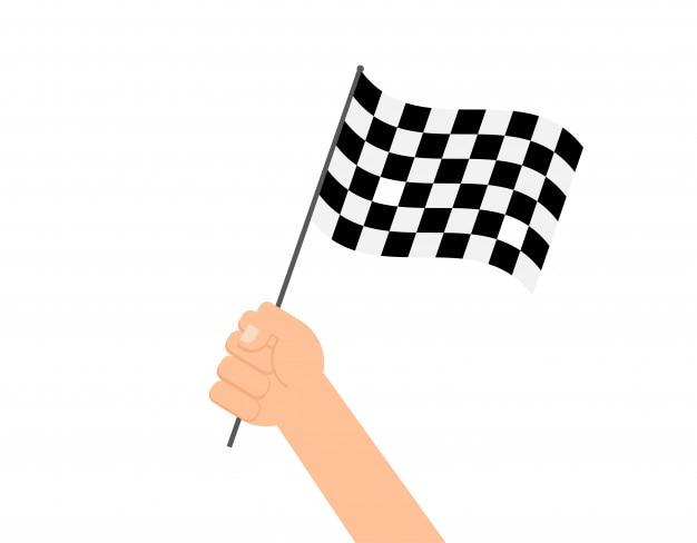 Mani che tengono la bandiera a scacchi Vettore Premium