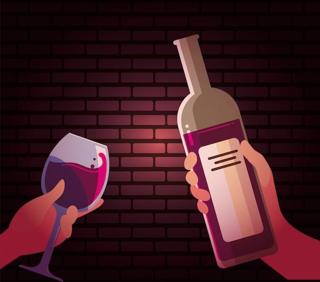 Mani che tengono la bottiglia e la tazza di vino Vettore Premium
