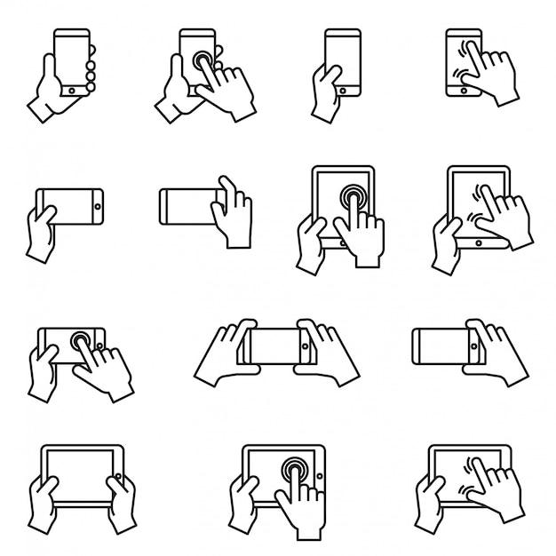 Mani che tengono smartphone e tablet icona set con sfondo bianco. linea sottile stile stock vettoriale. Vettore Premium