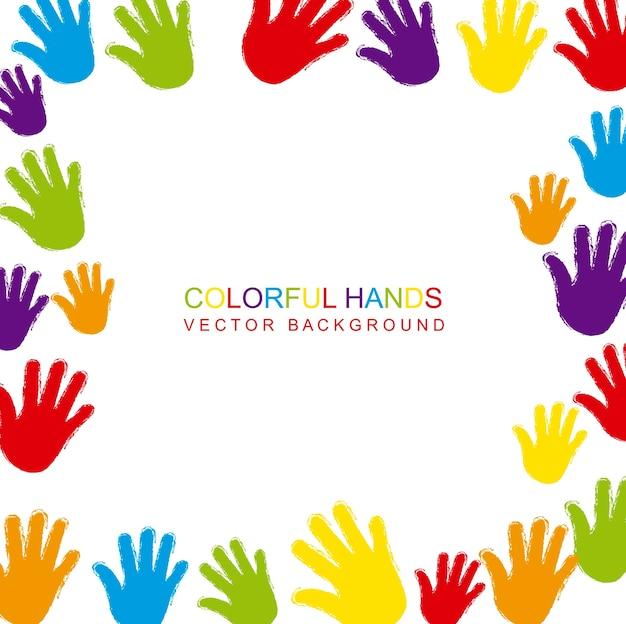 Mani colorate con spazio per illustrazione vettoriale copia Vettore Premium