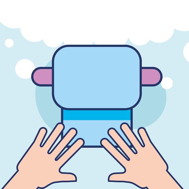 Mani con carta igienica bagno pulito Vettore Premium