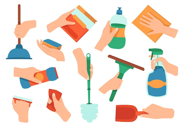 Mani con detersivo. rifornimenti di pulizia di lavori domestici di disinfezione nelle icone dell'illustrazione dell'attrezzatura di lavaggio delle mani, della cucina e del bagno messe. detersivo domestico, lavoro e detenzione di attrezzature per la pulizia Vettore Premium