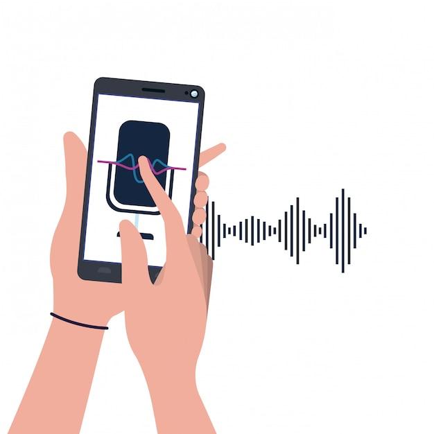 Mani con smartphone e assistente vocale Vettore Premium