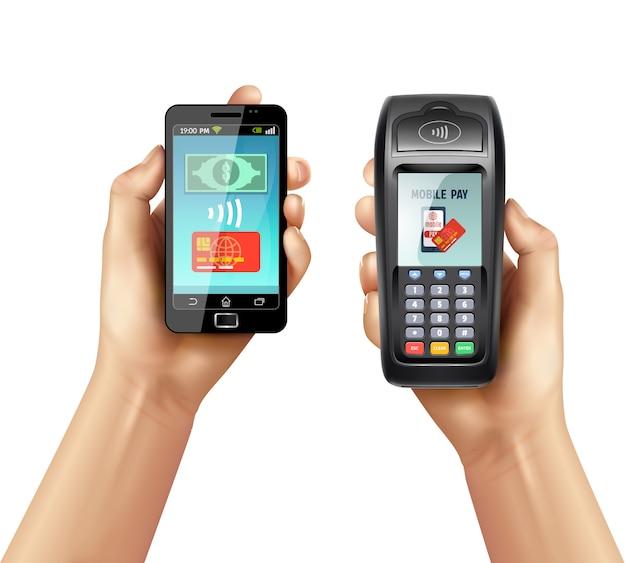 Mani con smartphone e terminale di pagamento Vettore gratuito