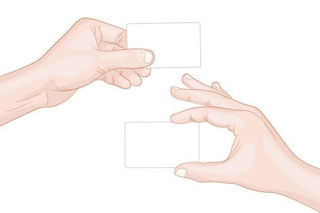 Mani dell'uomo in possesso di un carte vuote Vettore Premium