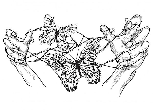 Mani di arte del tatuaggio con disegno a mano libera farfalla Vettore Premium