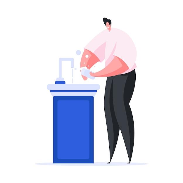 Mani felici di lavaggio dell'uomo con sapone sopra il lavandino Vettore Premium