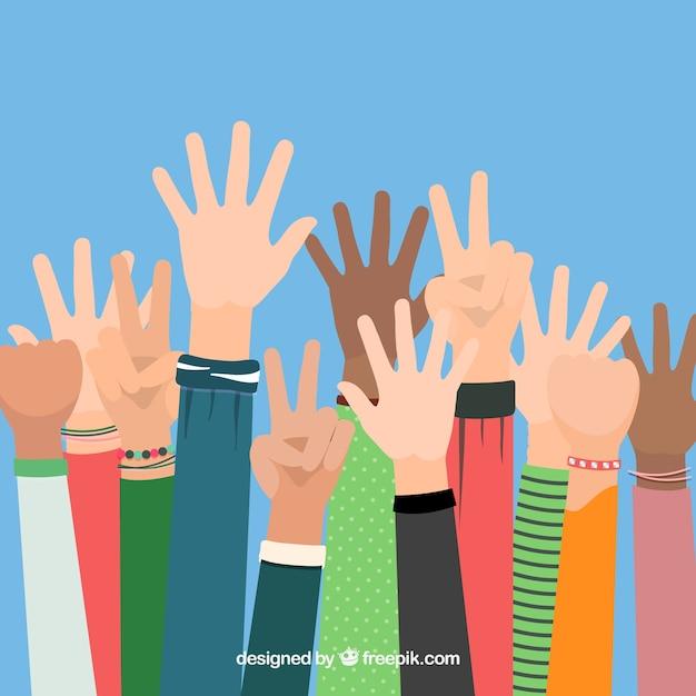 Mani in alto! Vettore gratuito