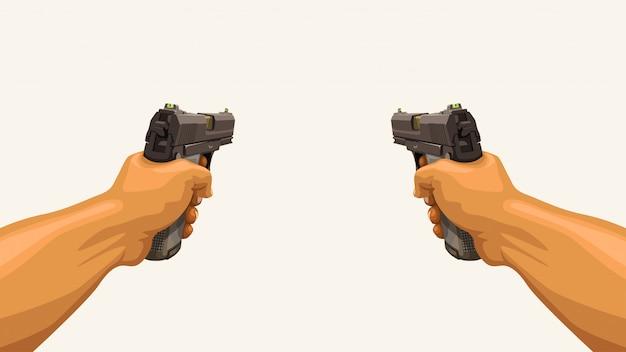 Mani maschili in possesso di due pistole Vettore Premium