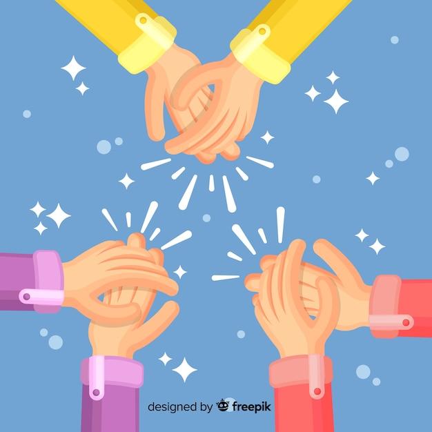 Mani piatte che applaudono sullo sfondo Vettore gratuito