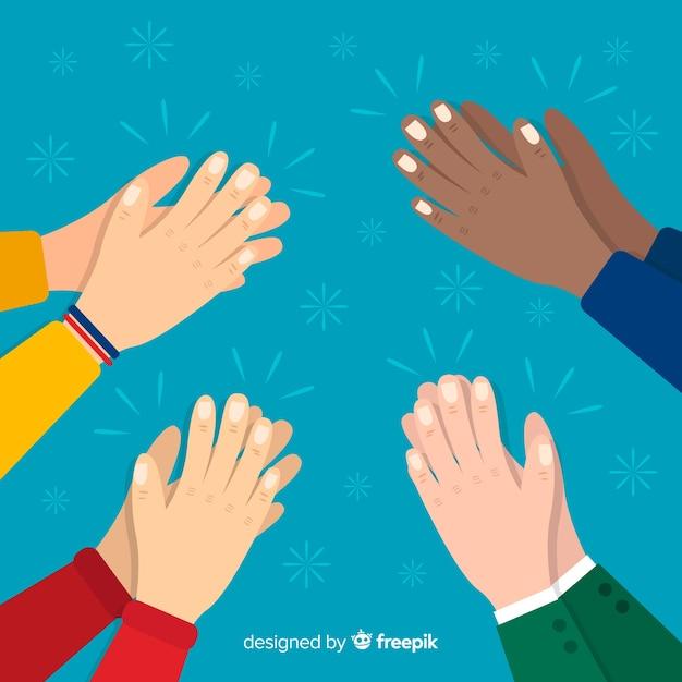 Mani piatte colorate che applaudono Vettore gratuito