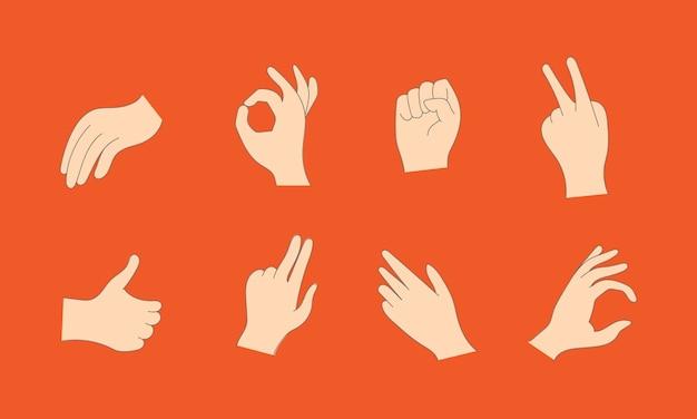 Mani umane del fumetto che mostrano i pollici in su, indicando e saluto Vettore Premium
