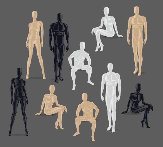 Manichini isolati. diverse pose e colurs maschili e femminili icone manichino. Vettore Premium
